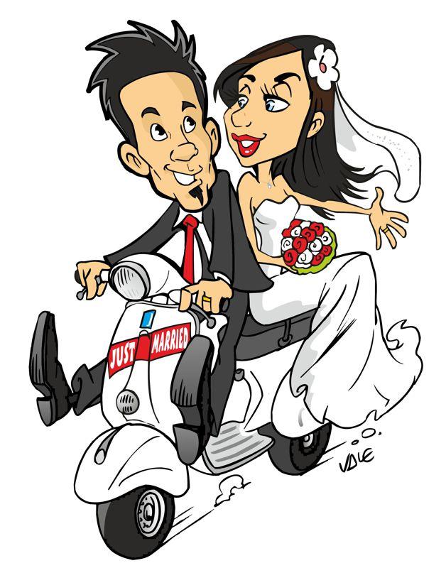 Valentino villanova caricaturista invito a nozze for Disegno sposi